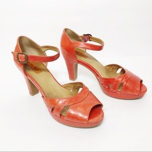 Miz Mooz Logan Leather Platform Sandal in Red